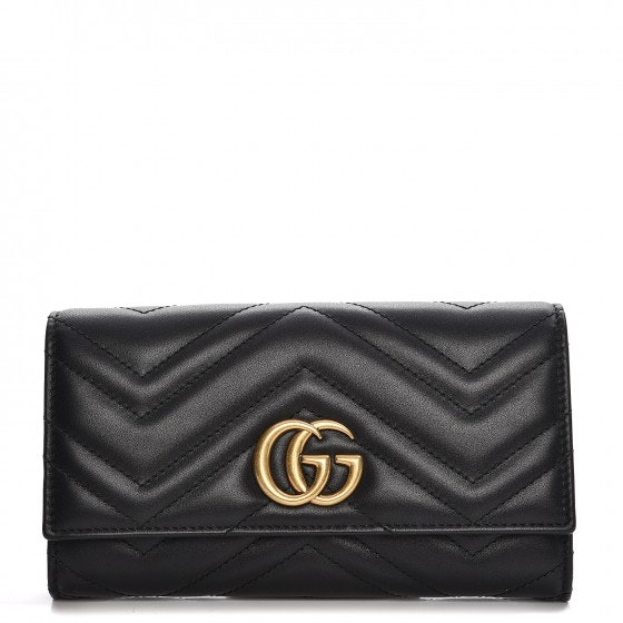 Gucci Continental Wallet Marmont Matelasse GG Black
