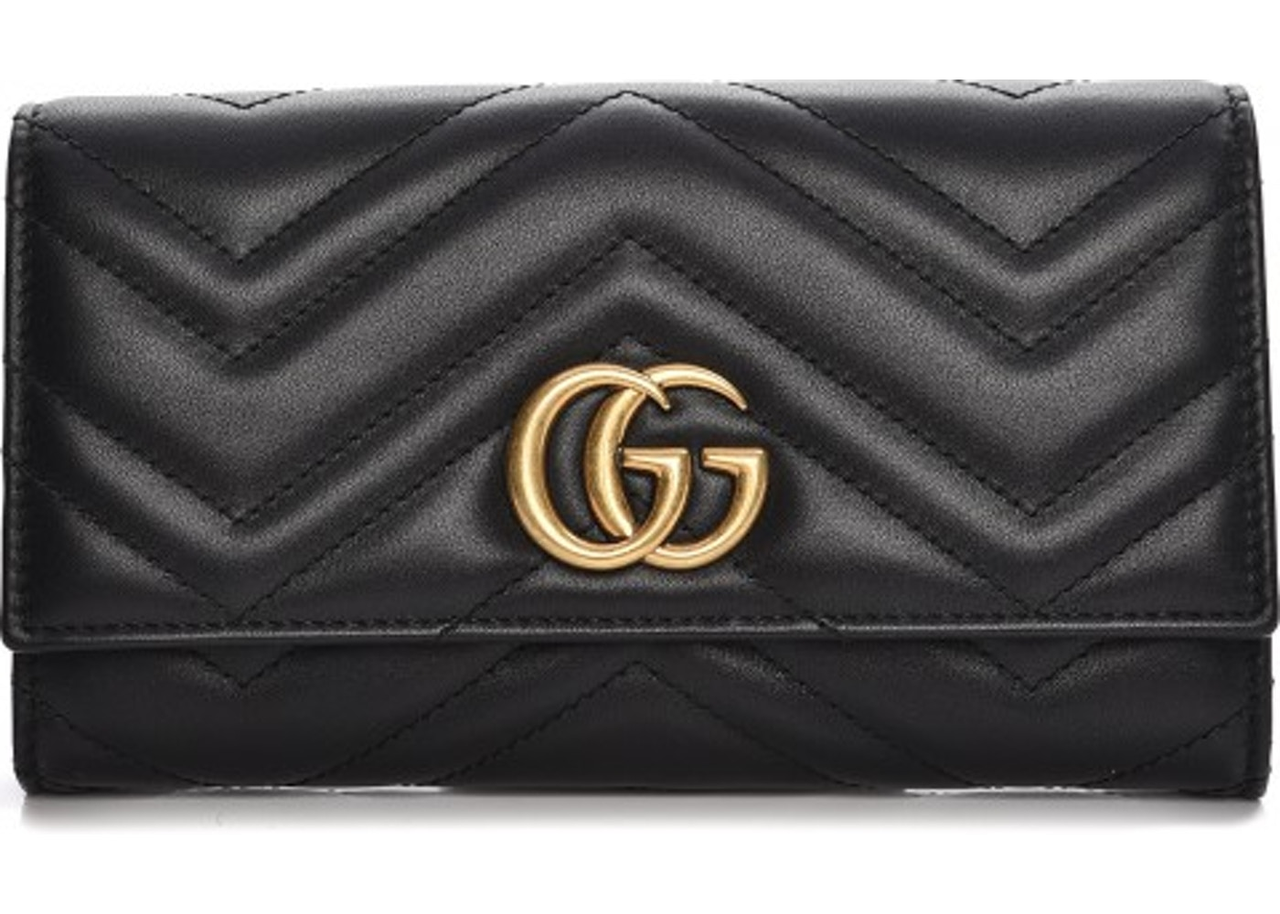 fe0df890a72c02 Gucci Continental Wallet Marmont Matelasse GG Black