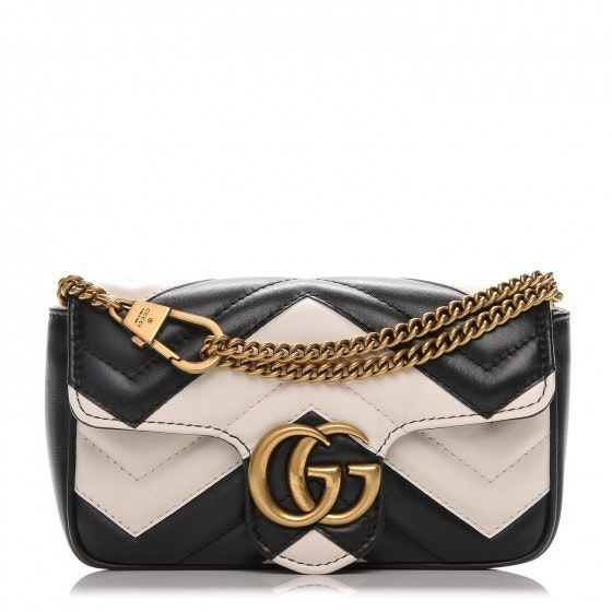 Gucci Marmont Crossbody Maltese Super Mini Black/White