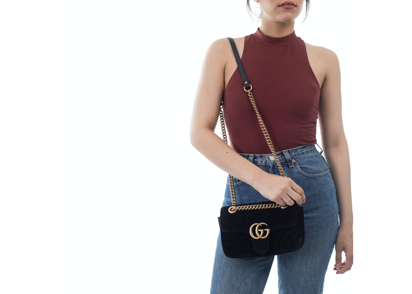 9341e6c9c4cc Gucci Marmont Shoulder Matelasse Interlocking GG Mini Black