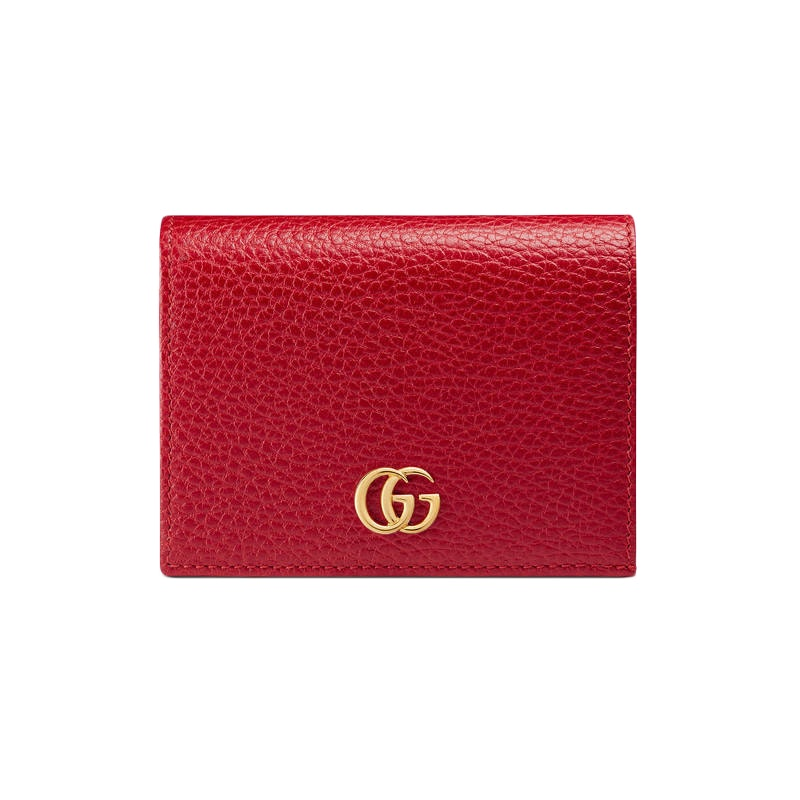 Gucci Marmont Flap Card Case Zipped Compartment Hibiscus Red
