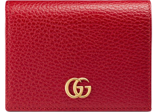 755e020a6072 Gucci Marmont Flap Card Case Zipped Compartment Hibiscus Red