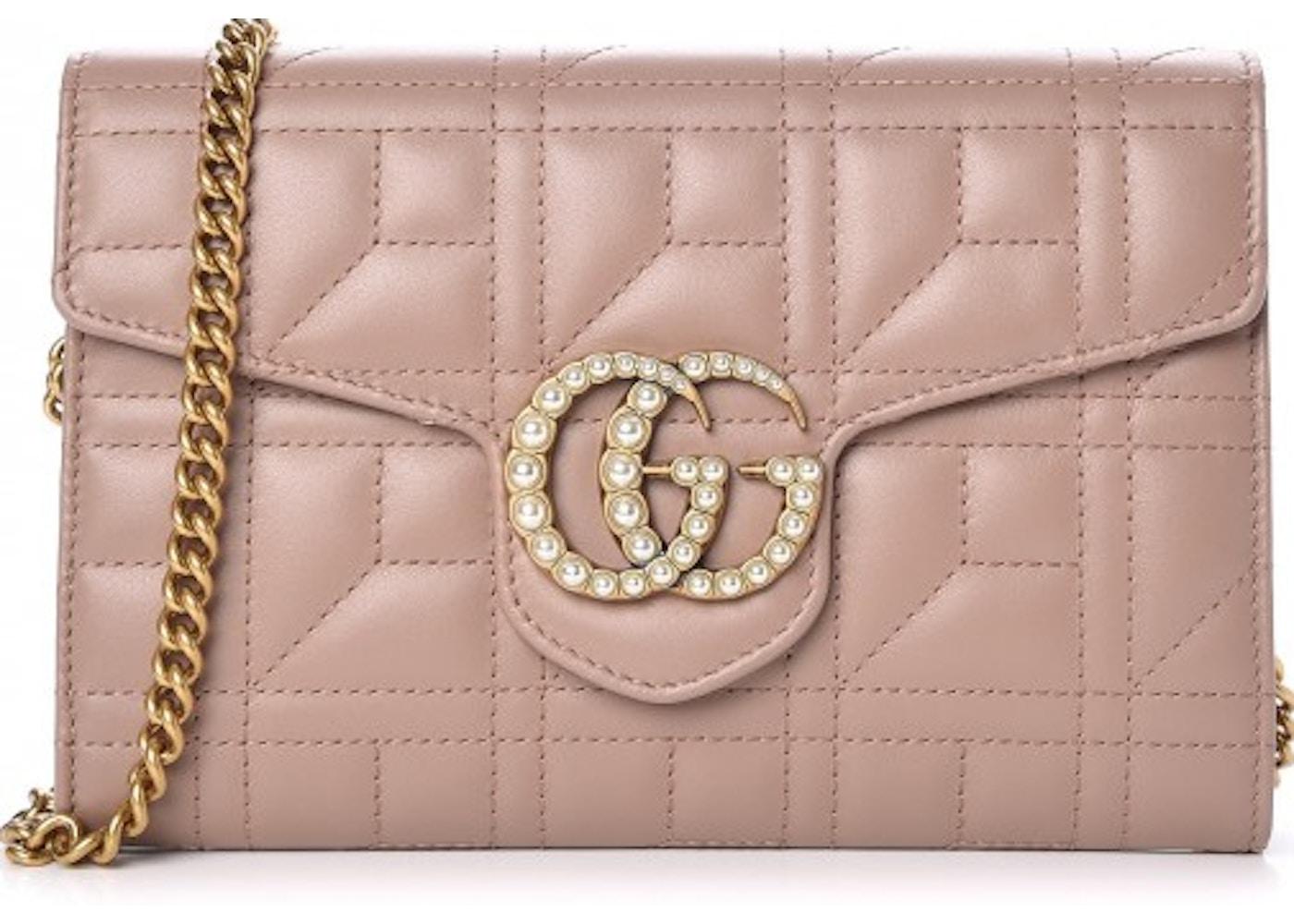 54ec6ff84151f6 Gucci Marmont Flap Matelasse GG Studded Pearls Mini Porcelain Rose