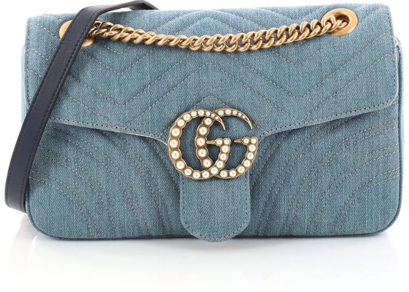 58fe3acfd32a Gucci Marmont Flap Matelasse Pearly GG Small Blue