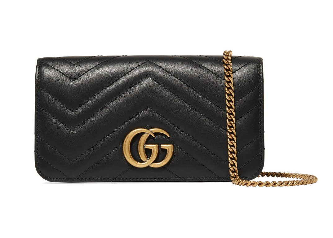 Gucci Marmont GG Shoulder Bag Quilted Leather Mini Black