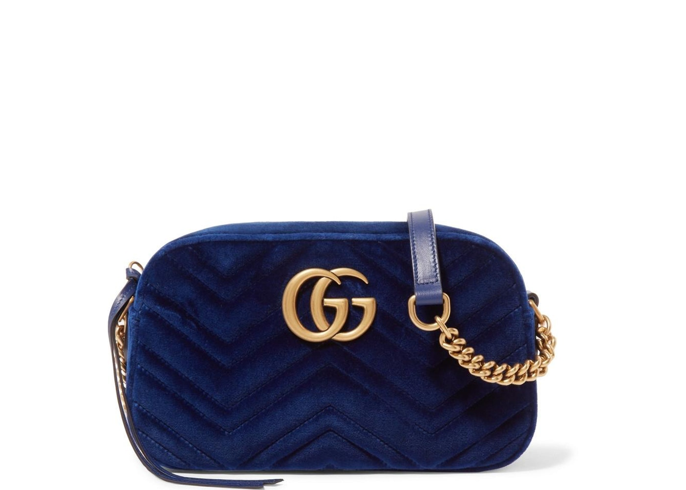07046675aa7a Gucci Marmont Matelasse Crossbody Velvet Small Cobalt Blue