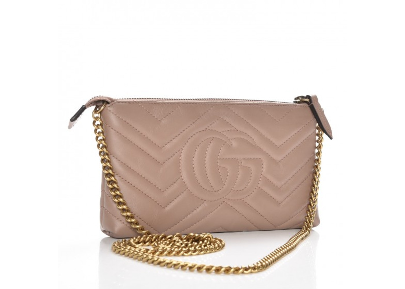 Gucci 498100 GG Marmont Small Shoulder Bag Nude
