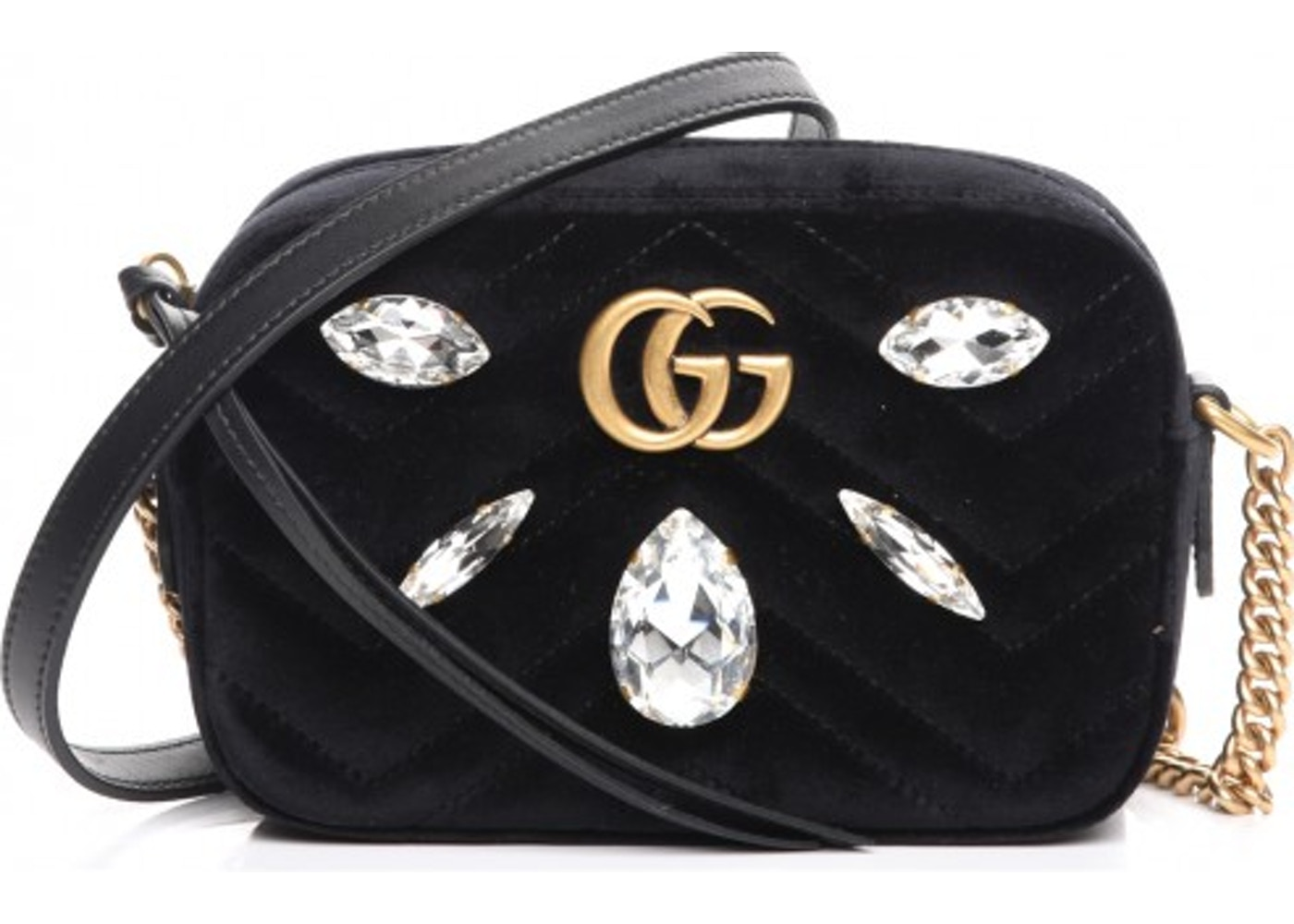 9546aef1745 Gucci Shoulder Bag Marmont Matelasse Marquise Crystals Mini Black