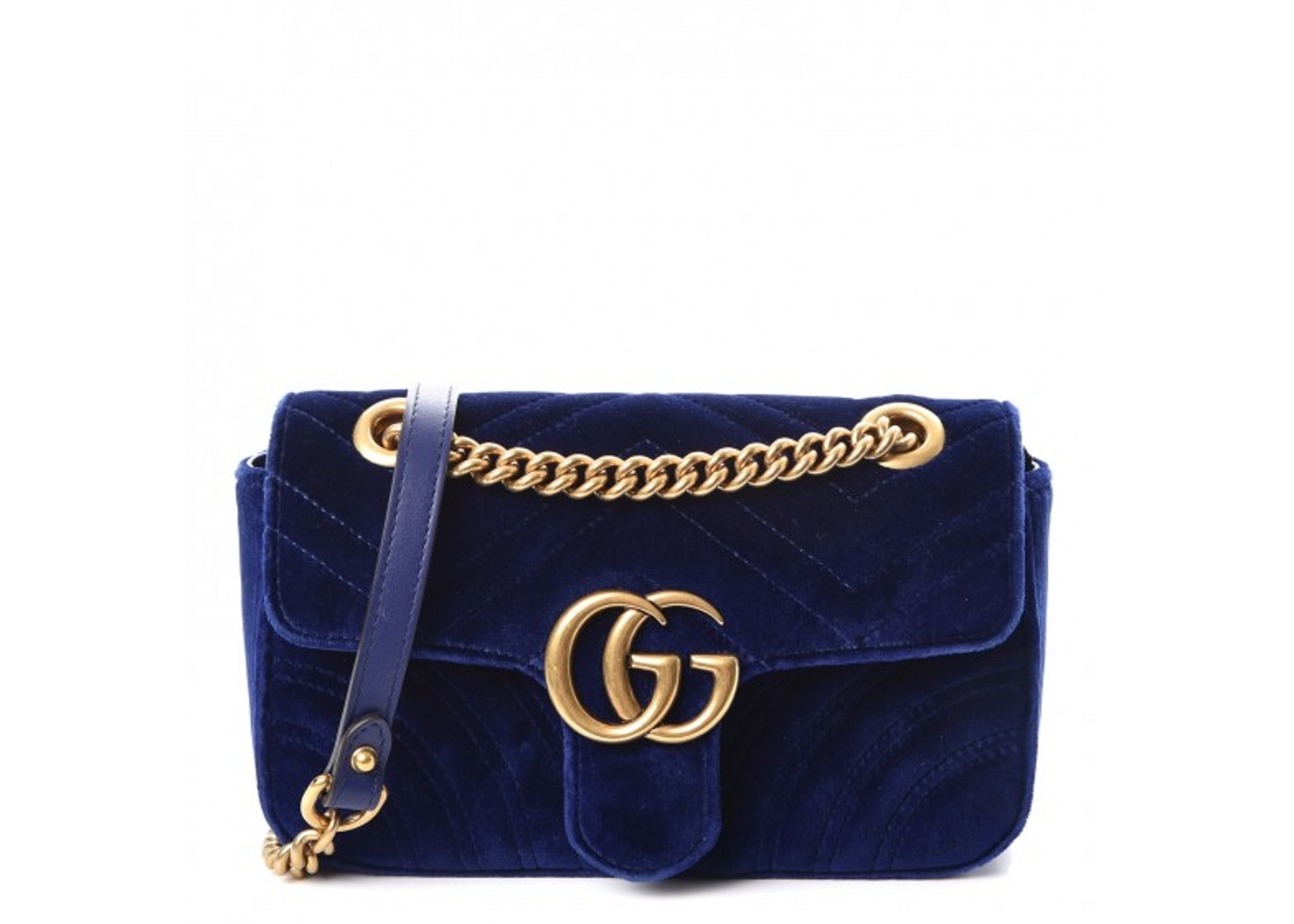 2ef1673f14b4 Gucci Marmont Shoulder Chevron Heart GG Mini Cobalt Blue