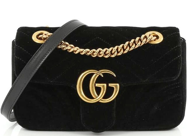 Gucci Marmont Shoulder Matelasse Interlocking GG Mini Black