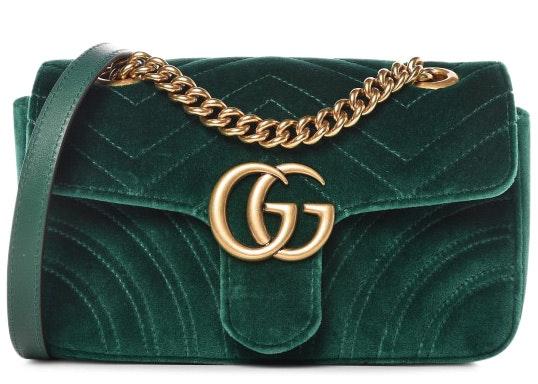 Gucci Marmont Shoulder Matelasse Velvet Mini Green