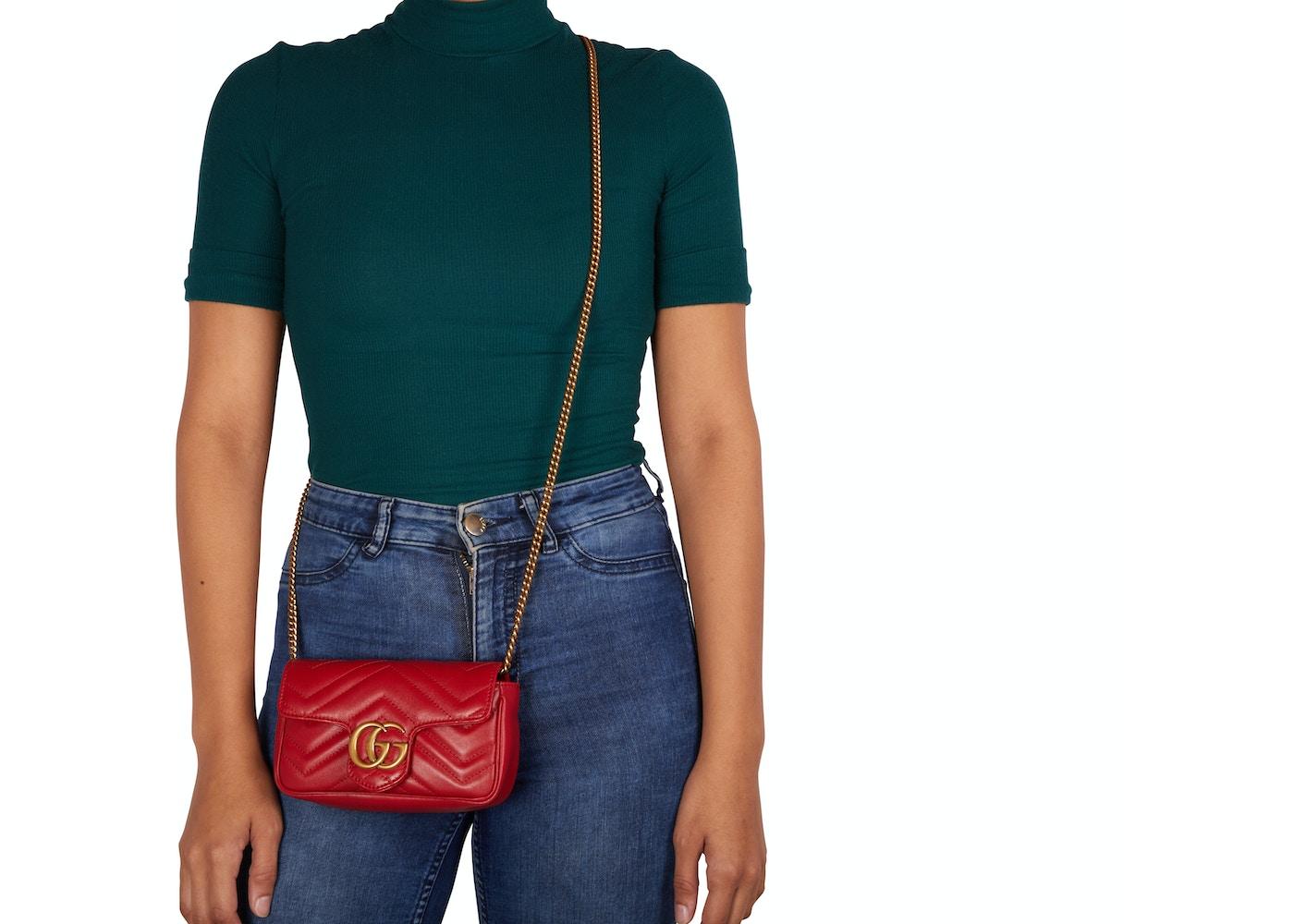 0d9638b90d178c Gucci Shoulder Bag Marmont Matelasse Super Mini Hibiscus Red