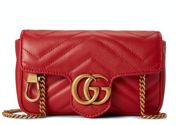 38103883 Gucci Shoulder Bag Marmont Matelasse Super Mini Hibiscus Red