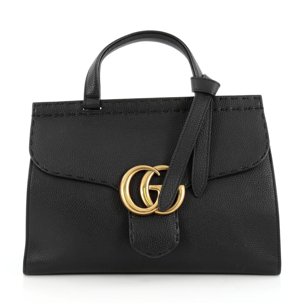 Gucci Marmont Top Handle GG Topstitching Detail Small Black