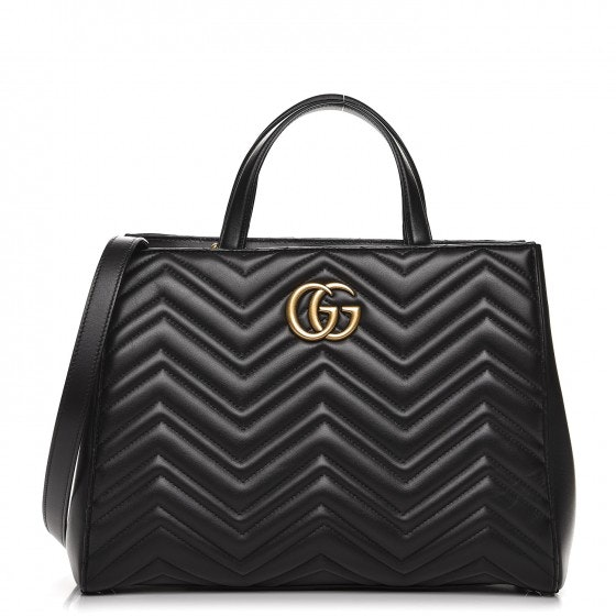 Gucci Marmont Top Handle Matelasse GG Medium Black