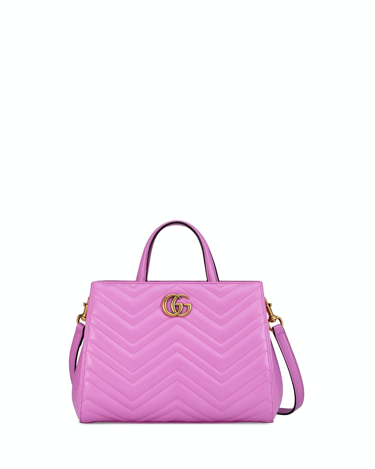 Gucci Marmont Top Handle Matelasse Small Bright Pink