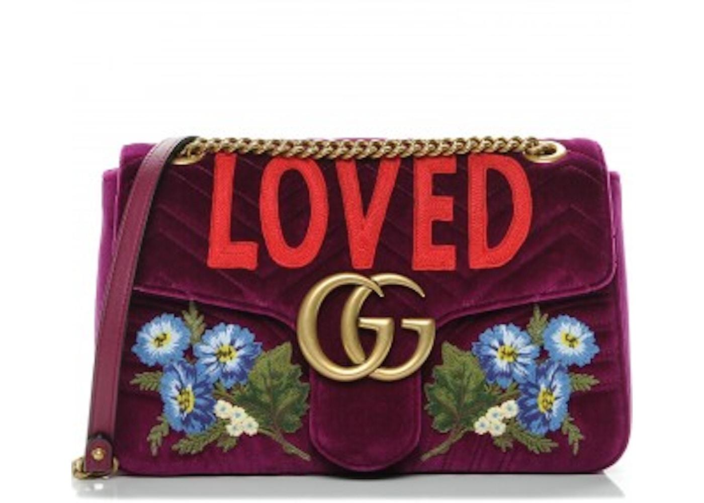 8c82962bdd1 Gucci Marmont Shoulder Bag Embroidered Bordeaux Medium. Embroidered  Bordeaux Medium