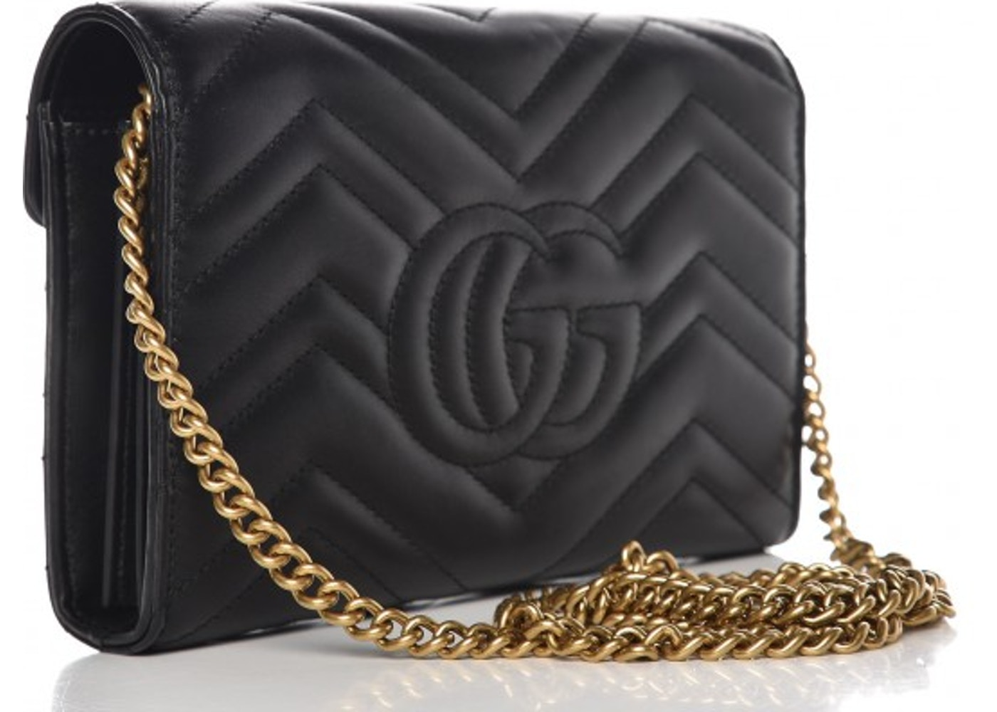 b5d8c758a Gucci Marmont Wallet on Chain Matelasse Black