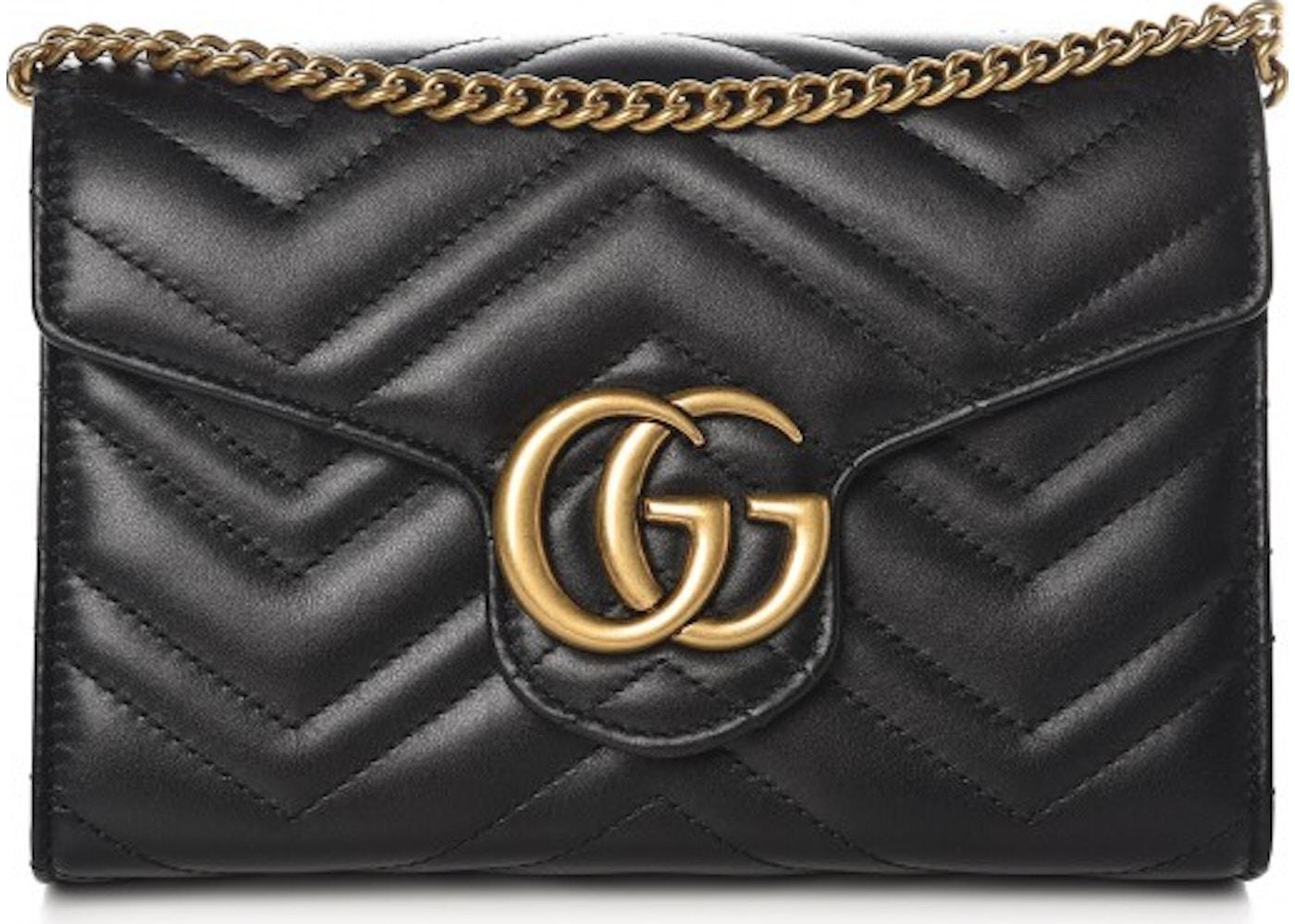 8216f37434fd50 Gucci Marmont Wallet on Chain Matelasse Black