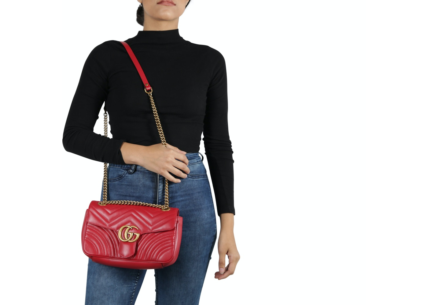 39551e2d807fb5 Gucci Marmont Shoulder Bag Matelasse Small Hibiscus Red