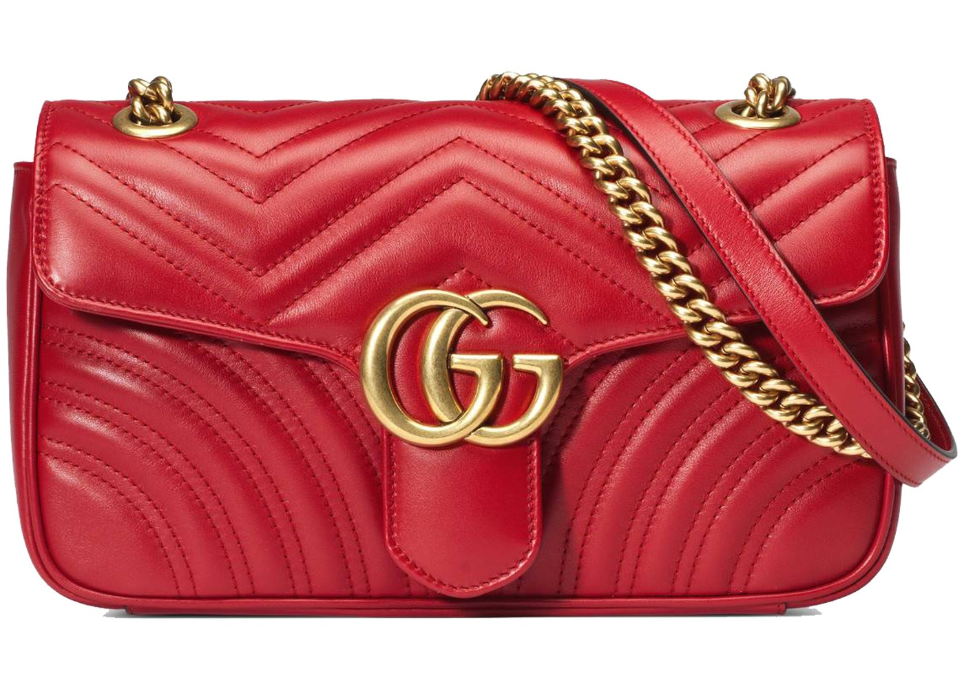 873fead549 Gucci GG Marmont Shoulder Bag Matelasse Small Hibiscus Red