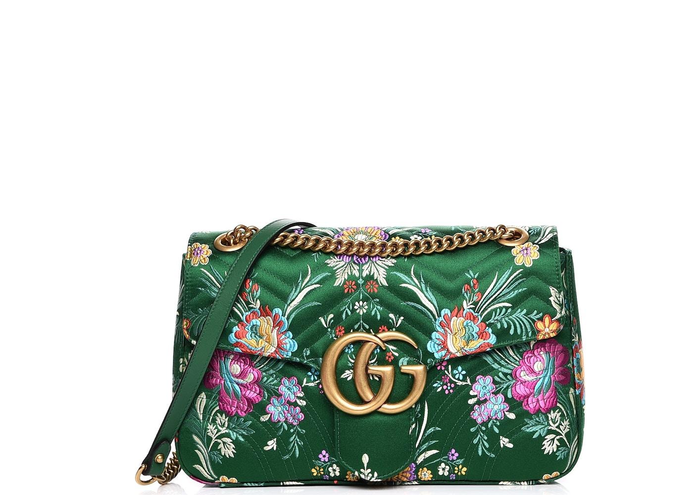 200a1cde9127 Gucci Marmont Matelasse GG Floral Jacquard Interlocking GG Logo ...