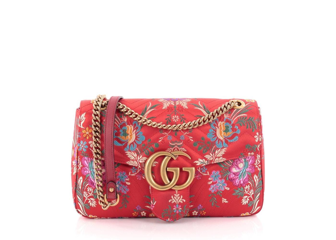 fe45036185bd Gucci Marmont Matelasse Floral Jacquard Interlocking GG Logo ...