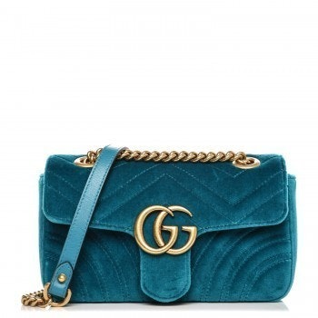 Gucci Marmont Shoulder Matelasse GG Mini Petrol Blue