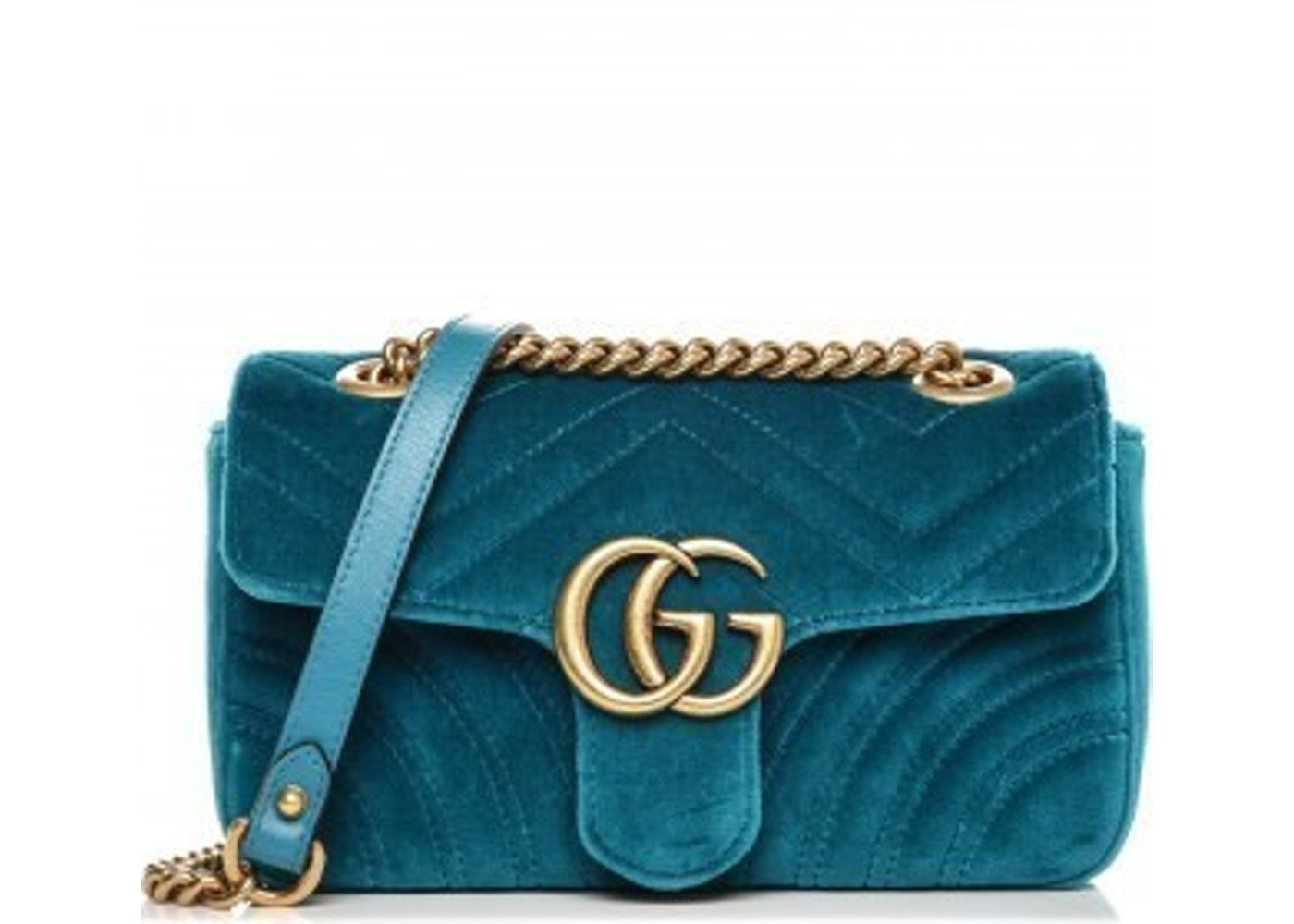 7deeed3807ae Gucci Marmont Shoulder Matelasse GG Mini Petrol Blue
