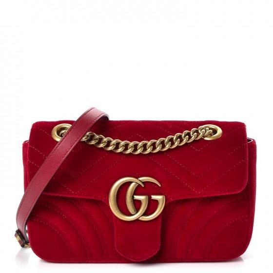 Gucci Marmont Shoulder Matelasse Interlocking GG Mini Red