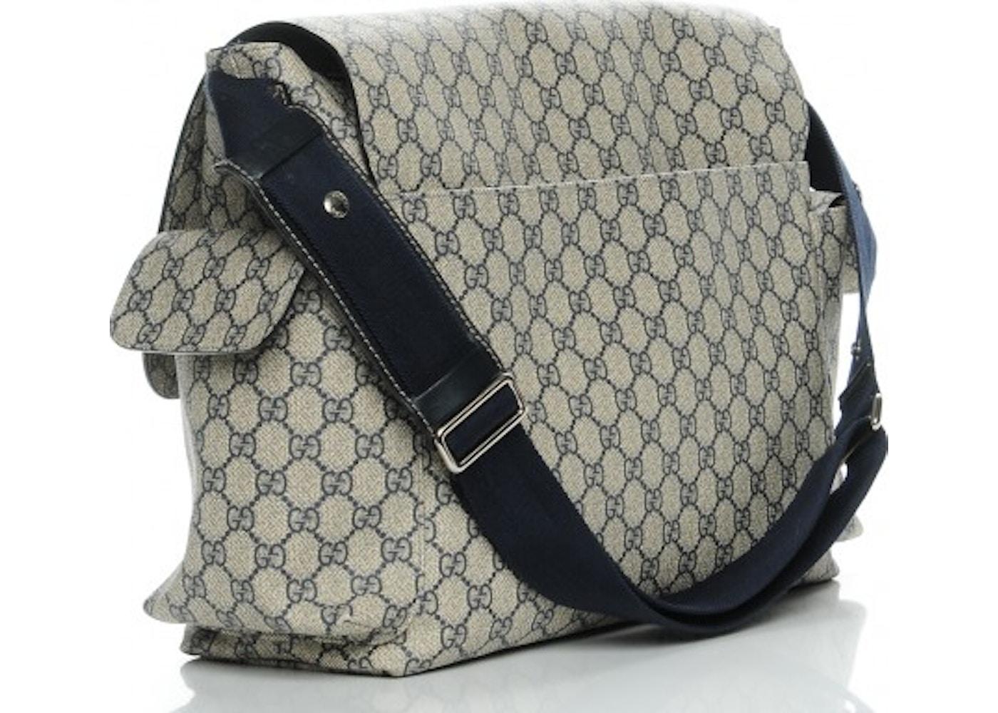 3cd9e3fb029 Gucci Diaper Bag Messenger Monogram GG Plus Beige Navy