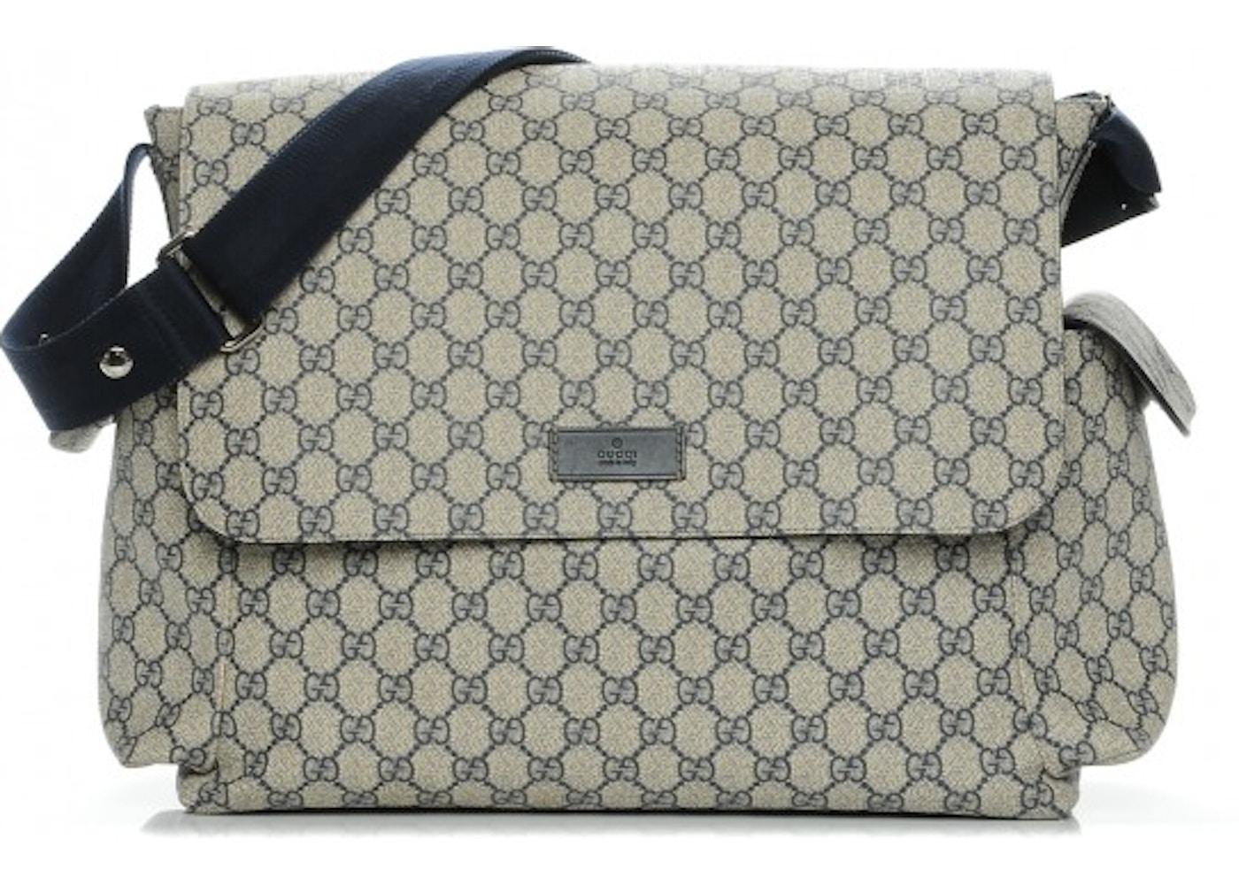 b09a73f47 Gucci Diaper Bag Messenger Monogram GG Plus Beige/Navy. Monogram GG Plus  Beige/Navy