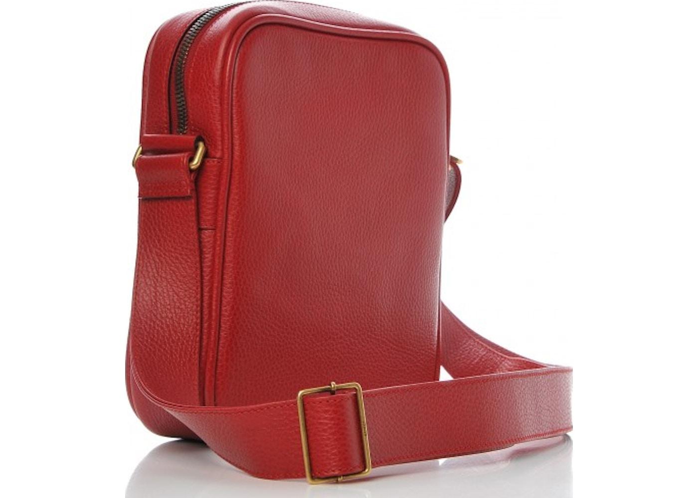 d44e907f78a4 Gucci Messenger Vintage Logo Grained Calfskin Hibiscus Red