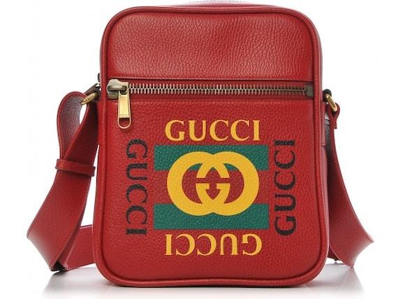 9bb689e1a47b Gucci Messenger Vintage Logo Grained Calfskin Hibiscus Red
