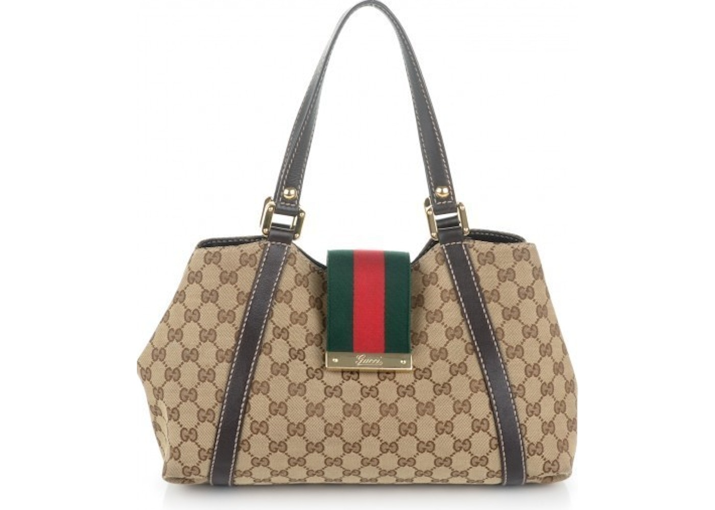 2ffe8718ab61f2 Sell. or Ask. View All Bids. Gucci New Ladies Web Tote GG Medium Dark Brown