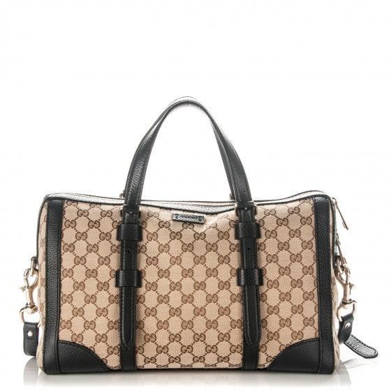 Gucci Boston Bag Lady Web Satchel GG Large Beige