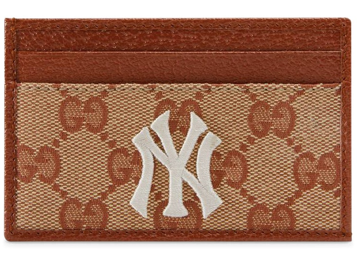 Gucci NY Yankees Patch Card Case GG Beige/Brick Red
