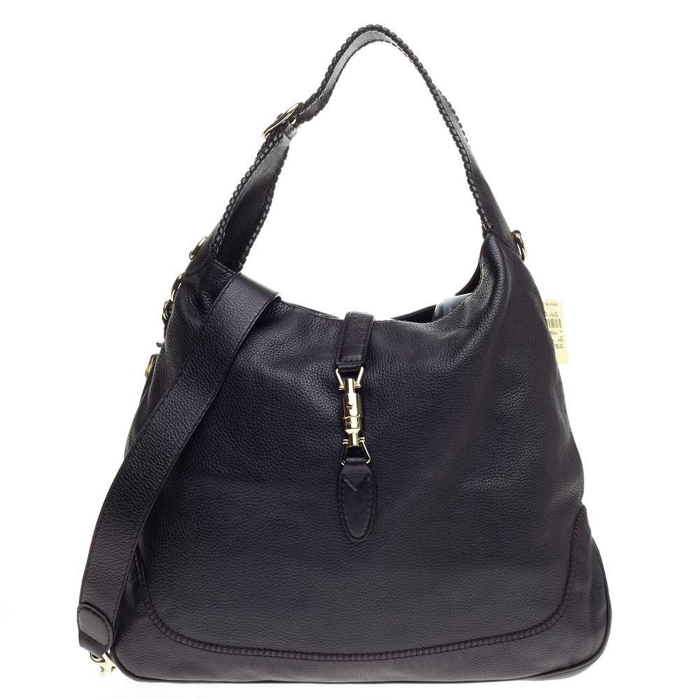 Gucci New Jackie Handbag GG Tassels Large Black