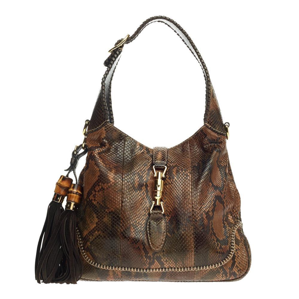 Gucci Hobo Handbag GG Bamboo Details Medium Brown