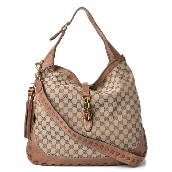 Gucci New Jackie Hobo Monogram GG Large Cocoa Brown