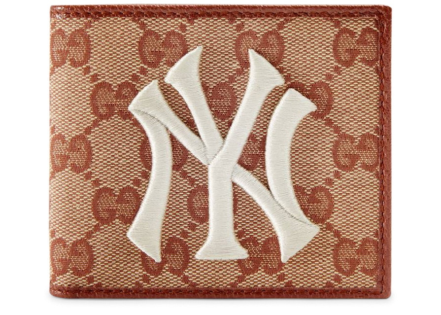 Gucci New York Yankees Patch Wallet GG Beige/Brick Red