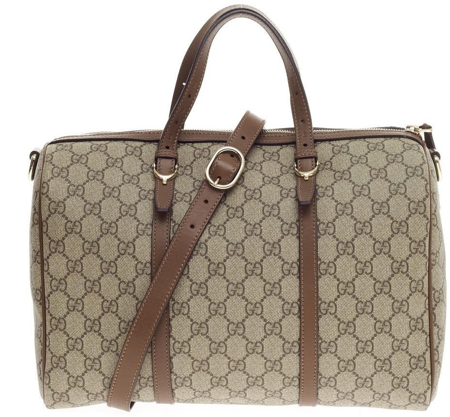 Gucci Nice Boston Bag Satchel GG Supreme Brown