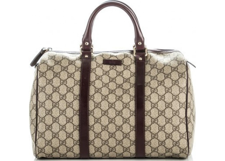 Gucci Nice Boston Bag Satchel GG Supreme Dark Brown