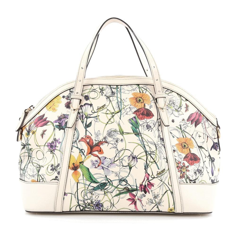 Gucci Nice Top Handle Flora Medium White