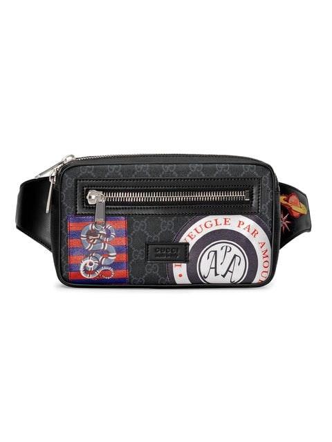 Gucci Night Courrier Waist Bag GG Supreme Soft Black