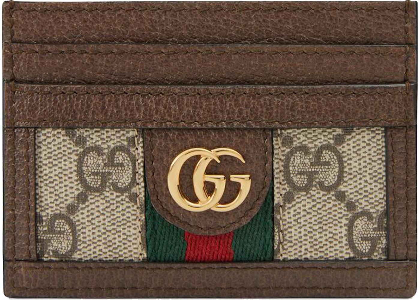 free shipping b7ca7 1fbc3 Gucci Ophidia Card Case GG Supreme Beige/Ebony