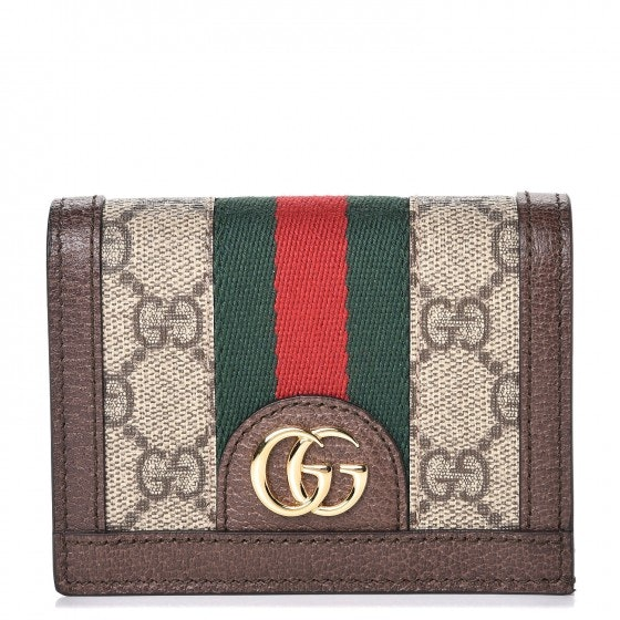 Gucci Ophidia Card Case Monogram GG Supreme Web Brown