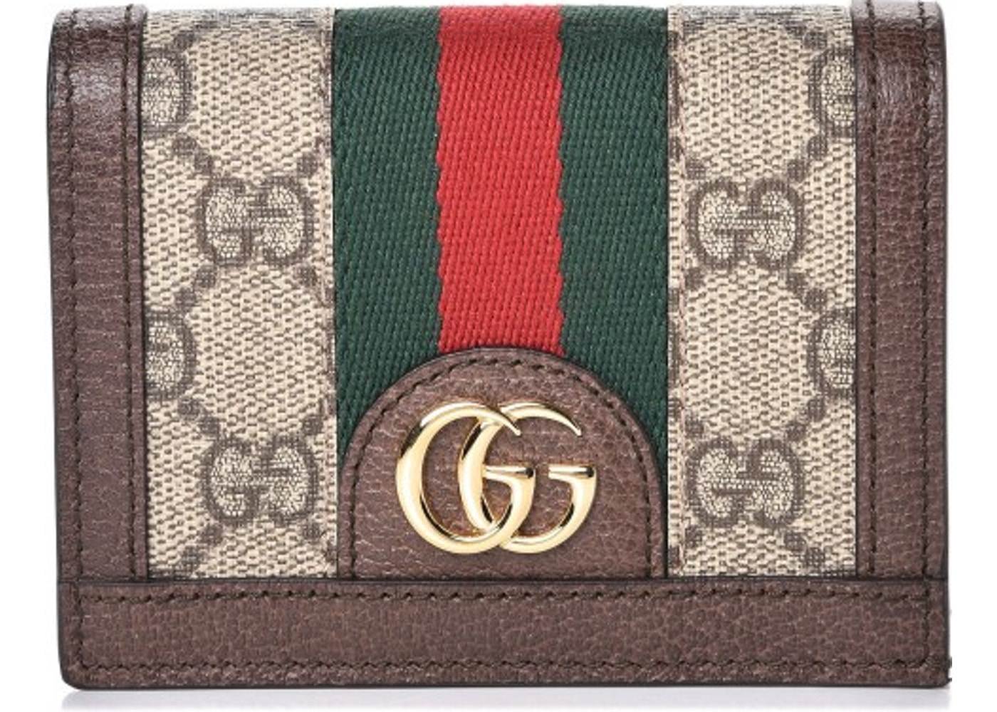 hot sale online a228c bae35 Gucci Ophidia Card Case Monogram GG Supreme Web Brown