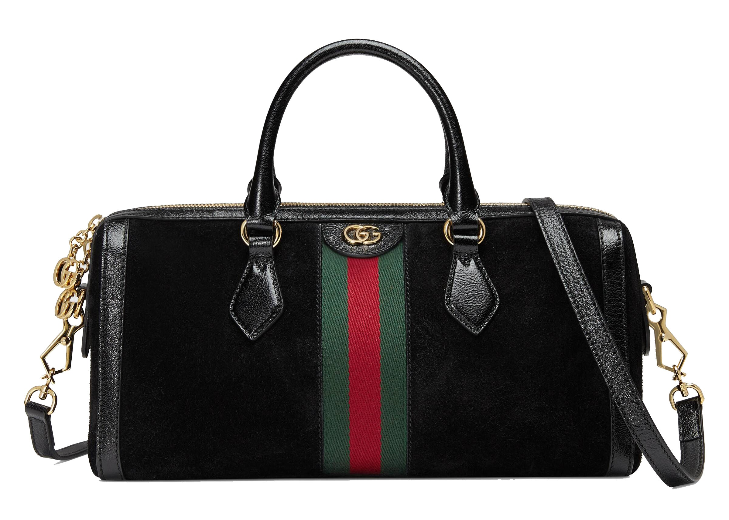 Gucci Ophidia Top Handle Suede Web Medium Black
