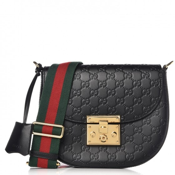 Gucci Padlock Shoulder Guccissima Medium Black